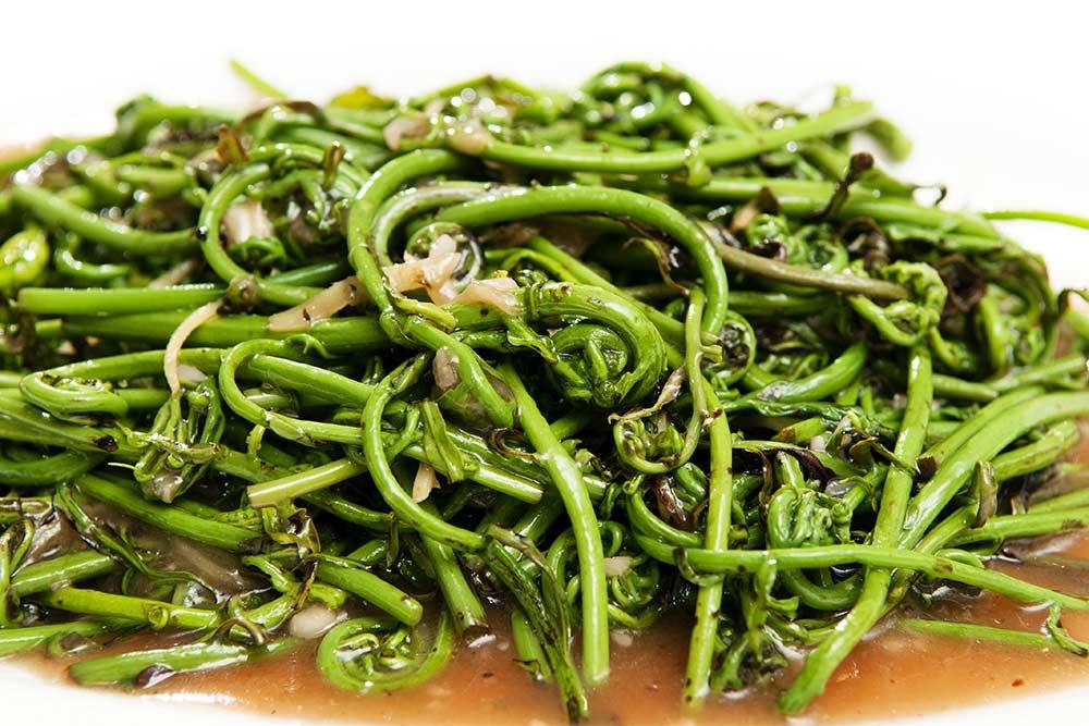 Stir fried fern or midin, a culinary dish of Borneo.