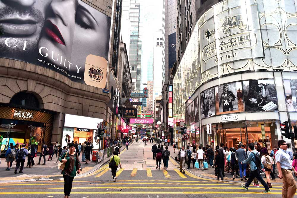 View of office & commercial buildings in Central area in Hong Kong