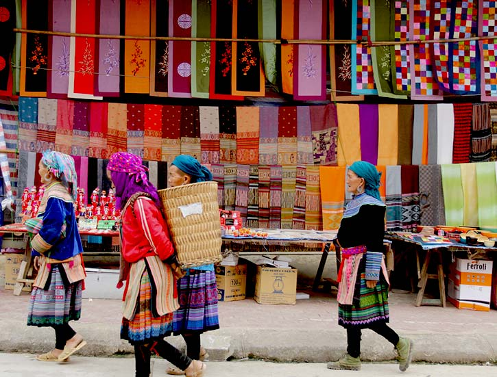 Hmong women at Bac Ha market in Northern Vietnam.