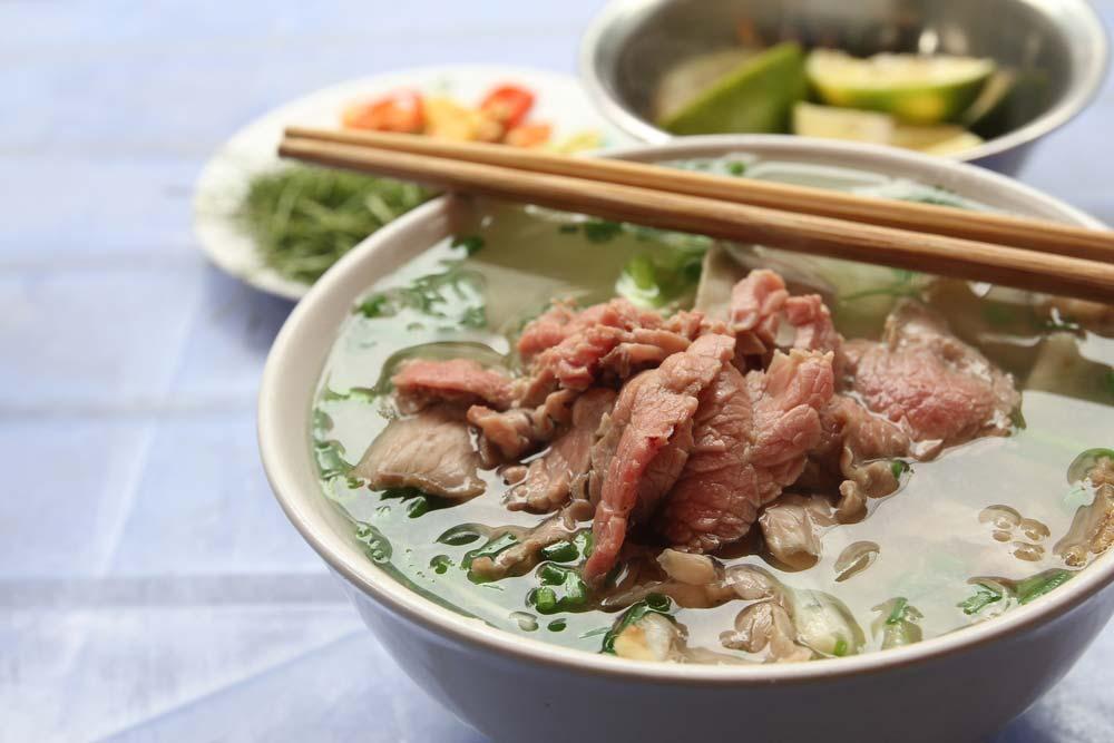 Pho Bo,Vietnamese beef noodle soup.
