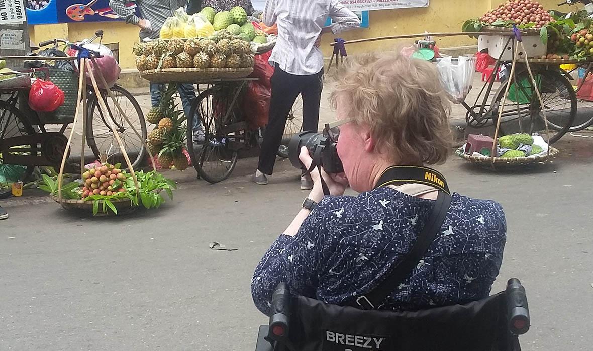 Taking a street scene in Vietnam's streets.