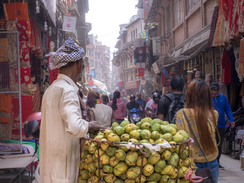 street vendors with fruits in thamel
