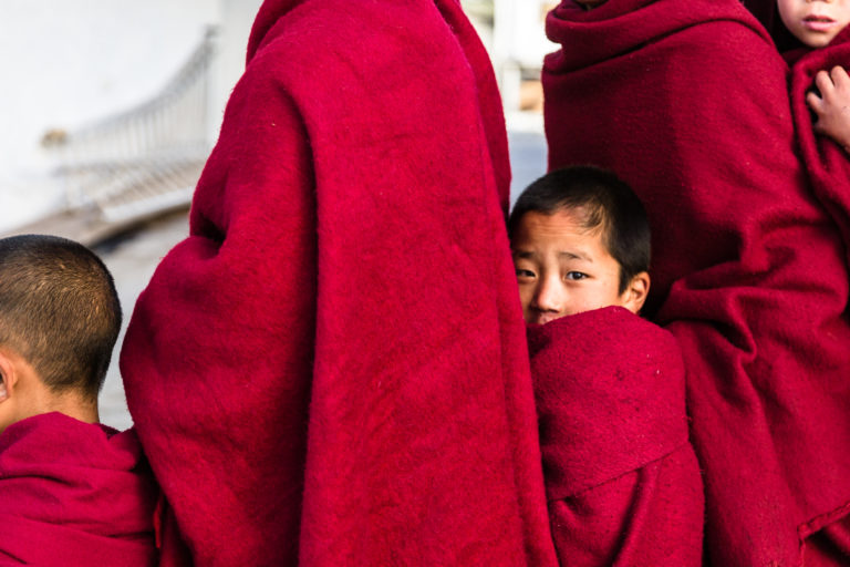 6 - Young monk in breakfast queue at Tawang Monastery
