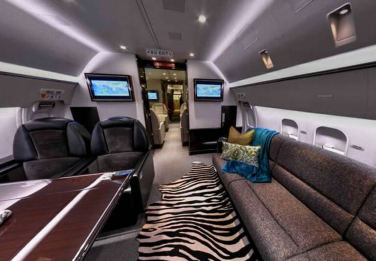 Interior of the Boeing Business Jet for the Aman Private Jet Journey Across China.